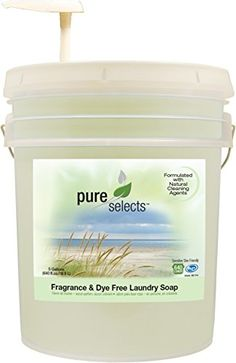 Pure Selects Fragrance  Dye Free Laundry Soap  All Natural  HE  640 Loads  Sensitive Skin Friendly  5 Gallons NO ANIMAL TESTING  PUMP INCLUDED ** Click image for more details-affiliate link. #BeautySalonEquipment