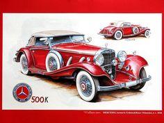 Vintage Cars and Racing Scene, Automotive Art of Vaclav Zapadlik  - Mercedes-Benz,  1934.  Red Mercedes-Benz Vintage Car