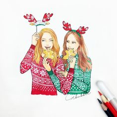 Me and my bff Tumblr Drawings, Bff Drawings, Easy Drawings, Best Friend Pictures, Bff Pictures, Pictures To Draw, Bff Pics, Illustration Noel, Christmas Illustration