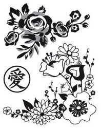 *Hero Arts Cling Stamps FLORAL BLOSSOMS Basic Grey 2012 CG434