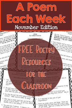 Love using these as read alouds and literacy centers. FREE November A Poem Each Week - 4 November Poems. The perfect addition to fun Thanksgiving topics. Teaching Poetry, Teaching Reading, Teaching Ideas, Teaching Resources, Learning, Reading Fluency, Reading Intervention, Teaching Tools, Poetry Activities