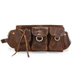 Vicenzo Adonis Leather Brown Waist Bag/ Fanny Pack/ Waist Hip Purse. I actually really like this.