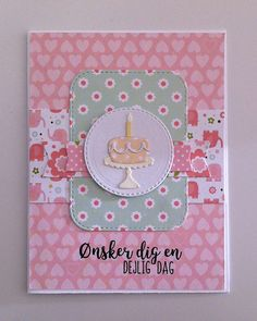 """Card cake candle TE Cake and stand Taylored Expressions, MFT rounded stitched rectangle stax Die-namics, MFT banners Die-namics, Echo Park : Bundle of Joy - girl  2 paper pad Echo Park """"Bundle of Joy : A New Addition Girl"""" collection - JKE"""