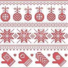 Scandinavian Nordic seamless Christmas pattern with Xmas baubles, gloves, stars, snowflakes, Xmas or Xmas Cross Stitch, Cross Stitch Borders, Cross Stitch Charts, Cross Stitch Designs, Cross Stitching, Cross Stitch Embroidery, Cross Stitch Patterns, Xmas Baubles, Xmas Ornaments