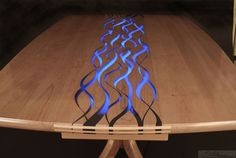 "Custom Made ""Confluence"" resin inlaid dining table or conference table"