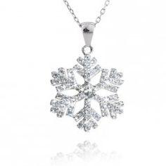 Stříbrný přívěsek sněhová vločka se zirkony 18 mm Diamond, Silver, Jewelry, Jewlery, Jewerly, Schmuck, Diamonds, Jewels, Jewelery