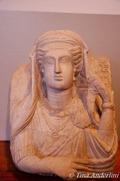 Female portrait Funerary stela from Palmyra, limestone, 3d c. AD, Baracco Museum, Rome