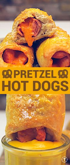 Sometimes you just don't want to stand in line at the mall, or the airport, or the train station, or the amusement park to get your pretzel fix at a beloved Auntie Anne's, and when that happens, just whip up these cheesy pretzel dogs at home.
