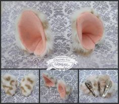White, cream, pink and glitter cat ears by Creatively Ever Ashley