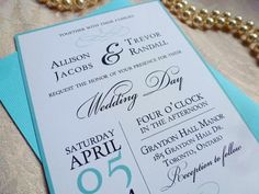 Printable Wedding Invitation and RSVP Card, The Tiffany Suite, DIY Wedding by Event Printables on Etsy, $39.46 CAD