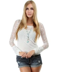 White Long-Sleeve Mesh Sweetheart Lace Top - Get the look at Clothing Showroom!