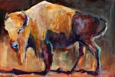 """Andree Hudson's """"Winter Coat"""". Read more about Andree's warm winter palette by clicking the image! #art #fineart #painting #arttovisit #gallery #painter #artist #artalive #lifeofanartist #supportart #artbeat #modernart #contemporaryart #santafe #newmexico #canyonroad #okeeffecountry #newmexicotrue #southwest #cow #bison #ox #oxen #orange #brown #yellow #tail"""