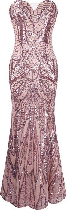 Angel-fashions Women's Notched Strapless Paillette Column Sheath Prom Dress Small