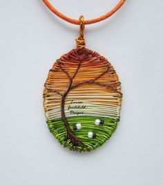 Sunset wire pendant, wire tree pendant, sheep pendant, wire sunset jewelry, tree of life necklace MADE TO ORDER - pinned by pin4etsy.com