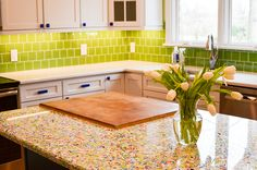 Recycled Glass Countertop Close Up