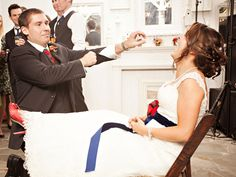 Love the red glitter shoes and the navy sash...
