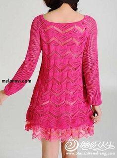 Free Knitting Patterns - Pullover in Diagonal Stripes Knitting Designs, Knitting Patterns Free, Knit Patterns, Free Knitting, Stitch Patterns, Free Pattern, Knitting Needles, Blouse And Skirt, Knit Skirt
