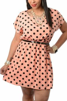DHStyles Women's Plus Size Flirty Polka Dot Keyhole Back Date Dress with Belt-1X - Pink