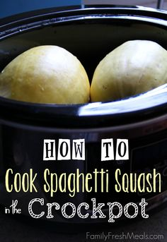 How to Cook Spaghetti Squash in the CrockPot from Family Fresh Meals; what a great idea! [via Slow Cooker from Scratch] How to Cook Spaghetti Squash in the CrockPot from Family Fresh Meals; what a great idea! [via Slow Cooker from Scratch] Slow Cooker Recipes, Low Carb Recipes, Crockpot Recipes, Real Food Recipes, Cooking Recipes, Yummy Food, Healthy Recipes, Cooking Tips, Cooking Games