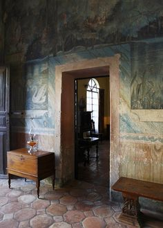how great must this have been to discover when wallpaper peeling started. The old Todos Santos Inn, Baja, Mexico wall mural tile floor interior Interior Decorating, Interior Design, World Of Interiors, Wall Treatments, Architecture, Decoration, Wall Murals, Interior And Exterior, Sweet Home