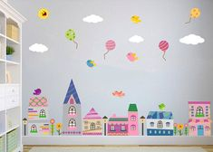 City Wall Decal, Town, Buildings, Balloon, Nursery Wall Decal, Kids Wall Decal, Houses Decal, Baby Wall Decal, REMOVABLE, REUSABLE, FABRIC