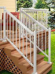 DIY Aluminum Railing System   Stair Railing White With Narrow Pickets.