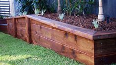 7 Timely Tips: Fence Ideas With Pallets Wood Fence 1 Acre Cost.Modern Fence Design Uk Wooden Fence Panels 6 X Yard Rail Fence. Wooden Retaining Wall, Sleeper Retaining Wall, Backyard Retaining Walls, Backyard Fences, Garden Fencing, Pool Fence, Wooden Fence Panels, Timber Fencing, Landscape Timbers