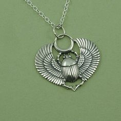 Egyptian Scarab Necklace - sterling silver scarab pendant - scarab jewelry - sacred Egyptian jewelry on Etsy, $49.00