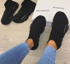 50 Ideas Basket Femme Tendance Balenciaga For 2019 Sneakers Mode, Cute Sneakers, Sneakers Fashion, All Black Sneakers, Fashion Shoes, Fashion Goth, Fashion Beauty, Hype Shoes, Women's Shoes