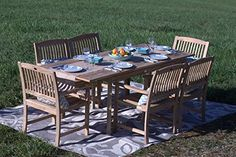 Amazing offer on Pebble Lane Living Teak Wood Patio Dining Set online - Aristatopshop Cast Aluminum Patio Furniture, Patio Furniture For Sale, Outdoor Wood Furniture, Wood Patio, Outdoor Dining Set, Wooden Dining Tables, Teak Dining Chairs, Expandable Dining Table, Dining Sets