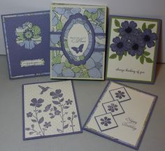 Stamp With Sue-gift box of 4 cards using Flower Shop, Mixed Bunches, Wildflower Meadow and Bloomin' Marvelous stamps sets from Stampin' Up.