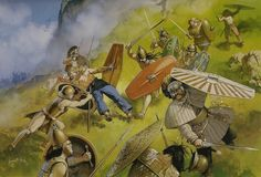 Etruscans battle Celtic raiders, northern Italy, century BC - art by Angus McBride Historical Art, Historical Pictures, Ancient Rome, Ancient History, Les Runes, Celtic Warriors, Celtic Culture, Classical Antiquity, Roman Soldiers