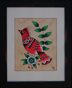 Cardinal Original 11x14 traditional folk art red bird americana country decor olive branch blossom tattoo flash farmhouse american vintage