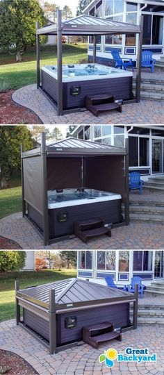 The profitable Business of Carpentry - Backyard jacuzzi goal 2019 Learn the Carpentry Business at Home - Discover How You Can Start A Woodworking Business From Home Easily in 7 Days With NO Capital Needed! Hot Tub Privacy, Patio Privacy, Privacy Screens, Privacy Shades, Outdoor Spaces, Outdoor Living, Tub Enclosures, Hot Tub Cover, Backyard Landscaping