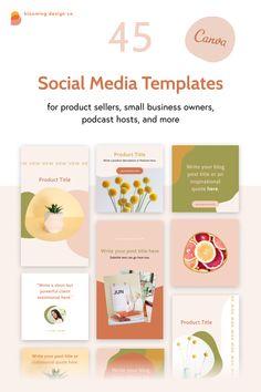 Social Media Template, Social Media Design, Email Templates, Design Templates, Instagram Post Template, Website Template, Presentation Templates, Brand Identity, Bloom