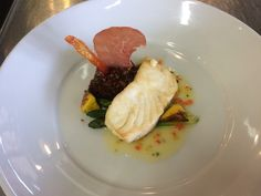 Pan roasted halibut, smoked pepper beurre blanc, red quinoa pilaf, asparagus and baby sunburst squash