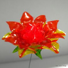 Upcycled  Orange and Yellow Fantasy Flower Made of Plastic Water Bottles