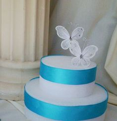 Wedding Cake Top Supplies Butterfly DIY Bride Silver White Butterflies