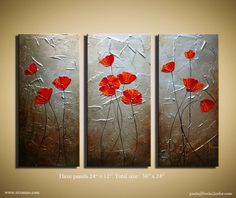 """Original  Poppies Against Silver and Aged Gold Background texture Painting  from P. Nizamas 36"""" by 24"""""""