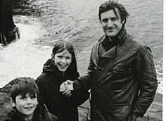 c.1970 Ted Hughes with his children, Nick and Frieda.