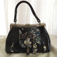 Steampunk Leather Purse, Couture Vintage evening bag, Black n Blue, Haute Handbag, Avant Garde Formal Pocket Book, LAYAWAY PLANS
