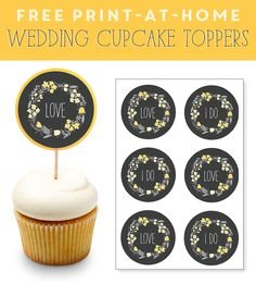 66 best diy wedding cupcake toppers images on pinterest wedding free print at home wedding cupcake toppers in yellow gray junglespirit Choice Image