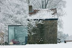 Belgian architect Bruno Erpicum transformed a small stone outbuilding, turning it into a glass-walled bed and breakfast in the Belgian countryside. Well-priced at $170 a night: