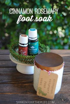 Cinnamon Rosemary Foot Soak is perfect for sore, tired feet.  It only has 2 ingredients and makes great holiday gifts!  there are only two ingredients, too!  Epsom salt and Young Living essential oils.