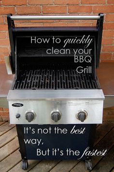 Quick way to clean grill. It worked well until the grease catch pan caught on fire. I Grill, Clean Grill, Cooking On The Grill, Barbecue Grill, Diy Cleaning Products, Cleaning Solutions, Cleaning Hacks, Grill Cleaning, How To Clean Bbq