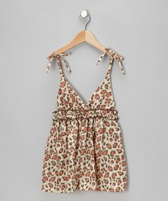 Take a look at this Crème & Pink Leopard Surplice Dress - Toddler & Girls by Mia Belle Baby on #zulily today!