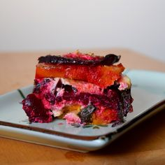 Beet and Butternut Bake with Roasted Garlic Ricotta Roasted Garlic, Beets, Ricotta, Tuna, Steak, Fish, Baking, Recipes, Pisces