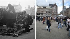 Today I went to the square and made some photos to compare with photos made in 1945.    Amsterdam