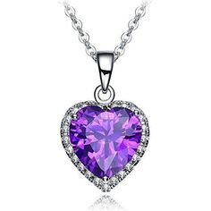 Elegant Valentines Day Gift for Her Purple Heart Pendant Necklace Love Wife New #ValentinesGift