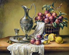 N/A author Oil Painting Pictures, Art Pictures, Colored Pencil Artwork, Foto Transfer, Still Life Fruit, Still Life Oil Painting, Fruit Painting, Fruit Art, Art Deco Design